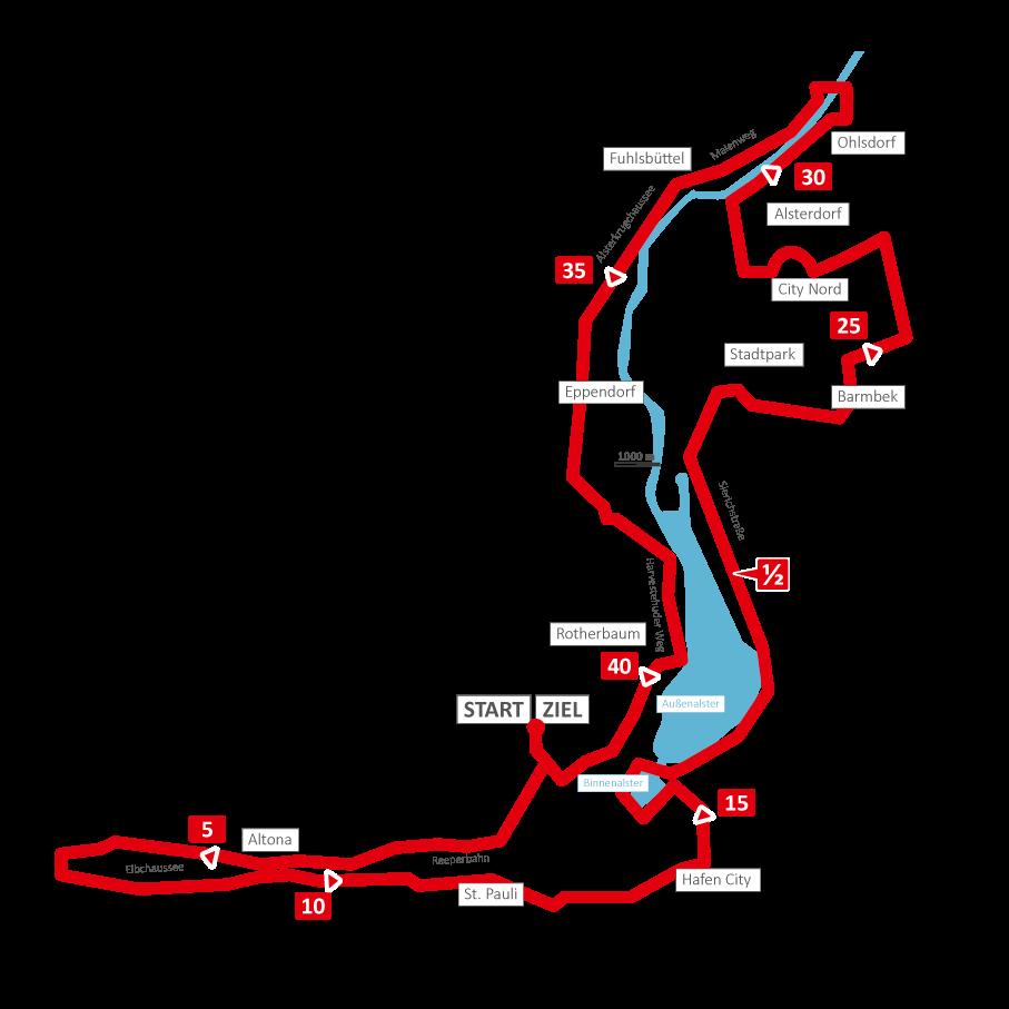Strecke Marathon Hamburg 2016