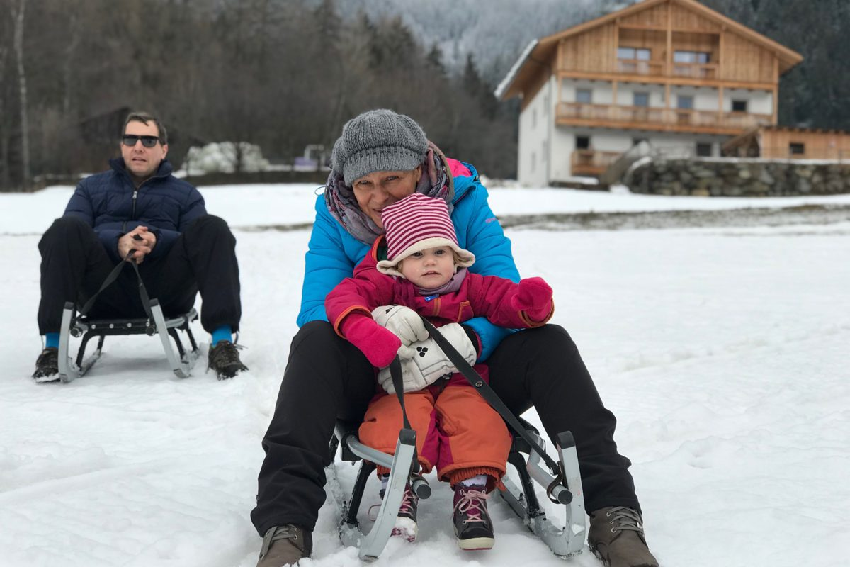 roter hahn bacherhof Lüsen Luesen Südtirol Winter